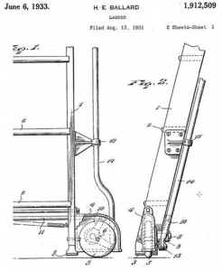 The drawing illustrates the patent for the first commercial mobile ladder.