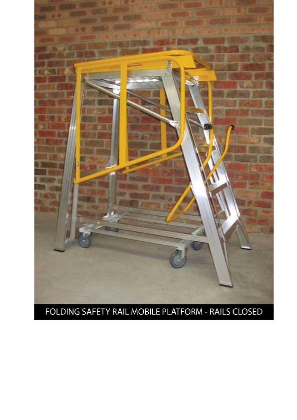 Custom Manufacturing Service - Folding Safety Rail for mobile platform - Rails Closed