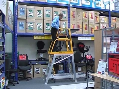 StockMaster Lift-Truk order picking ladder with raised goods lift
