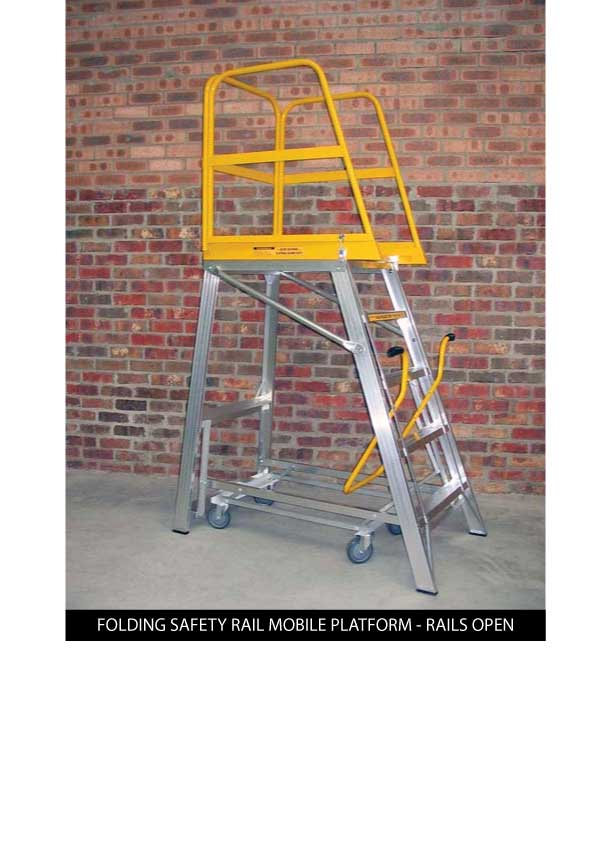 Custom Manufacturing Service - Folding Safety Rail for mobile platform - Rails open.