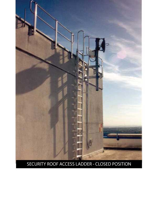 Custom Manufacturing Service - Security Roof Access Ladder in closed position