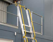 A Safety Gate is provided at the upper floor level to maintain the integrity of the perimeter railing.